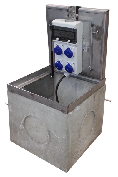 Retractable Power Tower VM02 5050 flip lid unit for the distribution of energy power, electricity, water, compressed air, data transmission and audio system