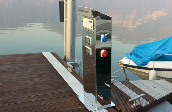 Fixed supply bollards for cities, campsites, harbors and marinas